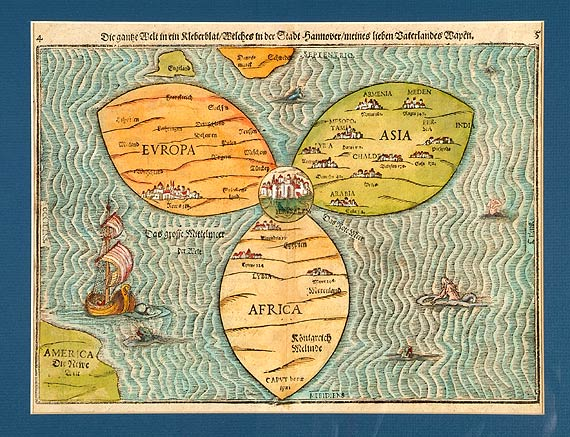 World Map As CloverLeaf Showing Jerusalem In The Center - Jerusalem map world